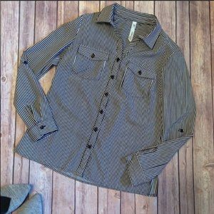 NY Collection Pinstriped Button Down PXS